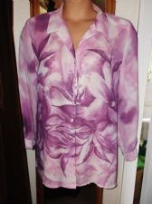 LADIES ELEGANT SUPERB STRONG PINK LILAC BOLD DESIGN CHIFFON LONG BLOUSE 16 6TH